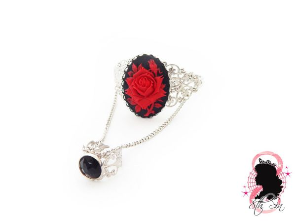Antique Silver and Red Rose Bangle and Ring